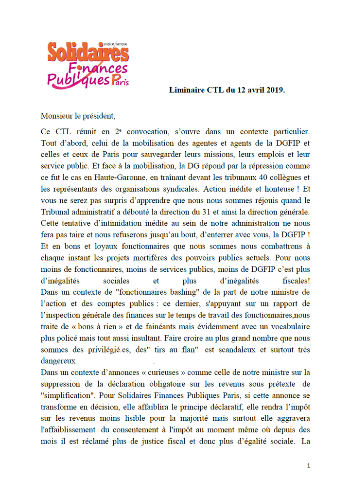 CTL 12 avril 2019