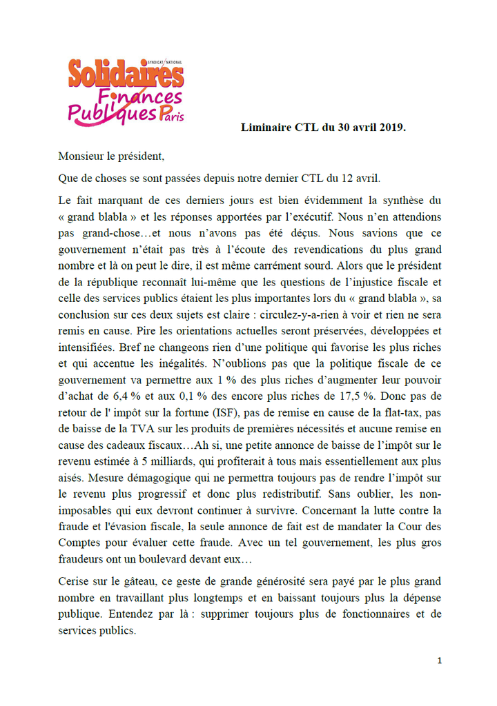 Liminaire CTL 30 avril 2019