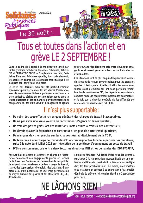 Tract d'appel à la gréve SFP 02/09/2021 - Services Informatiques